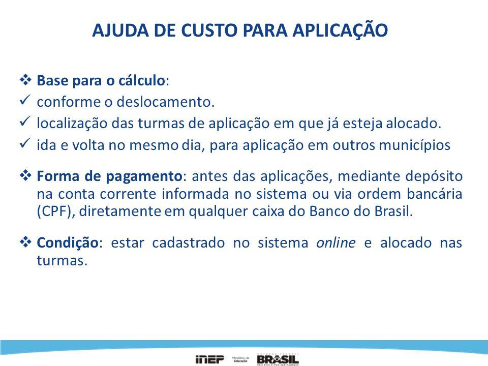 TABELA DE VALORES DE AJUDA DE CUSTO, POR DIA, PARA APLICAÇÃO Tipo de deslocamentoValor líquido No próprio município:R$ 10,00 Do Polo para outro município, até 50 km:R$ 45,00 Do Polo para outro município, até 100 km:R$ 65,00 Do Polo para outro município, acima de 100 km:R$ 80,00 Do Polo para escolas de Zona Rural no mesmo município: R$ 65,00