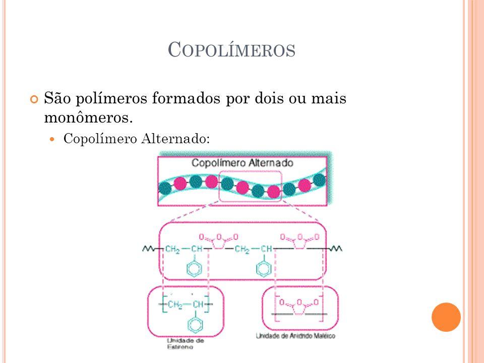 C OPOLÍMEROS São polímeros formados por dois ou mais monômeros. Copolímero Alternado:
