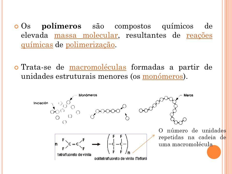 REAÇÕES DE POLIMERIZAÇÃO Polimerização por adição: Ocorre com átomos de carbono insaturados, unidos por ligação dupla; Sob altas temperaturas e pressões; Às vezes na presença de um catalisador; A ligação dupla de monômeros é rompida formando moléculas maiores.