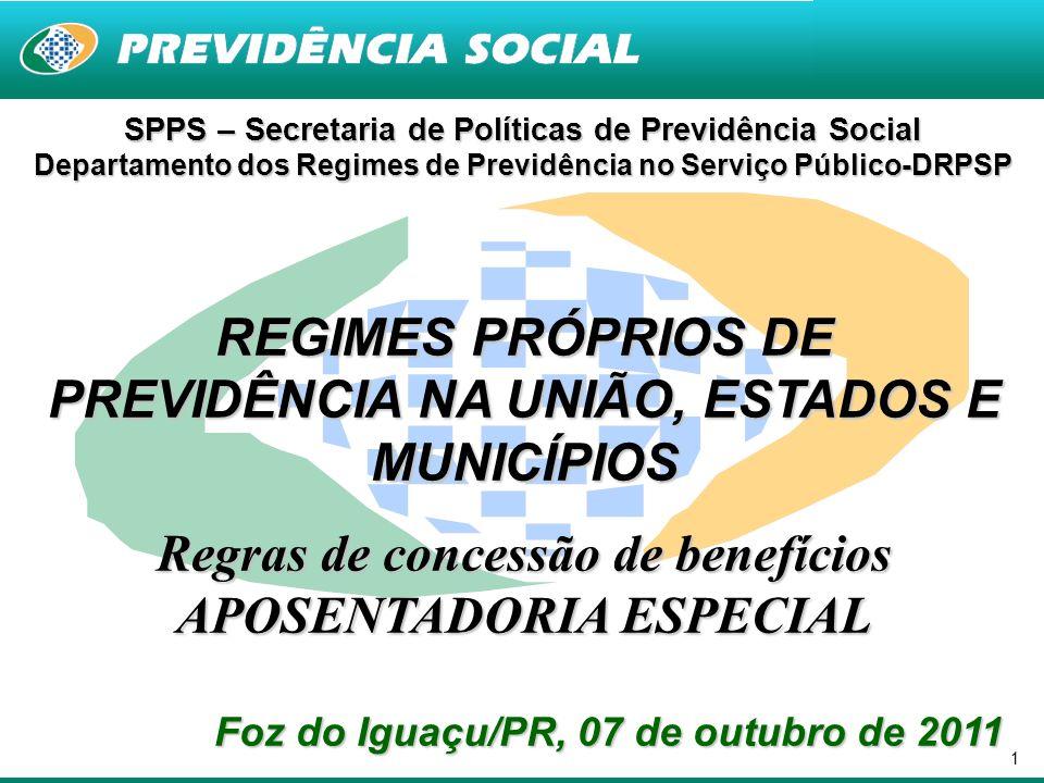 1 SPPS – Secretaria de Políticas de Previdência Social Departamento dos Regimes de Previdência no Serviço Público-DRPSP REGIMES PRÓPRIOS DE PREVIDÊNCI