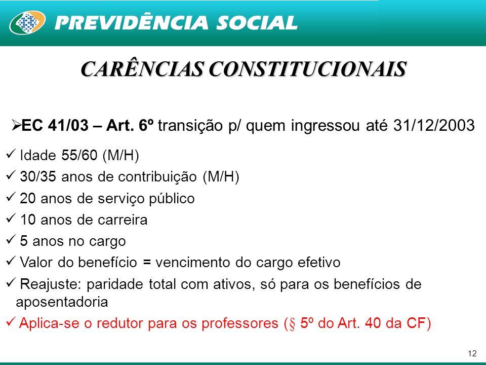 12 CARÊNCIAS CONSTITUCIONAIS EC 41/03 – Art. 6º transição p/ quem ingressou até 31/12/2003 Idade 55/60 (M/H) 30/35 anos de contribuição (M/H) 20 anos