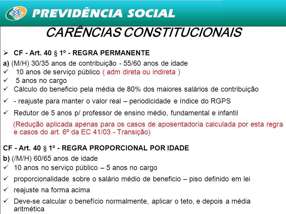 4 CARÊNCIAS CONSTITUCIONAIS CF - Art. 40 § 1º - REGRA PERMANENTE a) (M/H) 30/35 anos de contribuição - 55/60 anos de idade 10 anos de serviço público