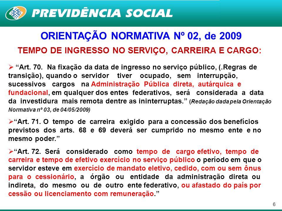 6 ORIENTAÇÃO NORMATIVA Nº 02, de 2009 TEMPO DE INGRESSO NO SERVIÇO, CARREIRA E CARGO: Art. 70. Na fixação da data de ingresso no serviço público, (.Re