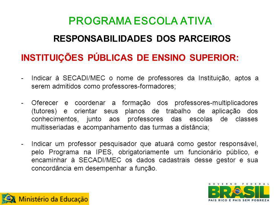 PROGRAMA ESCOLA ATIVA RESPONSABILIDADES DOS PARCEIROS INSTITUIÇÕES PÚBLICAS DE ENSINO SUPERIOR: -Indicar à SECADI/MEC o nome de professores da Institu