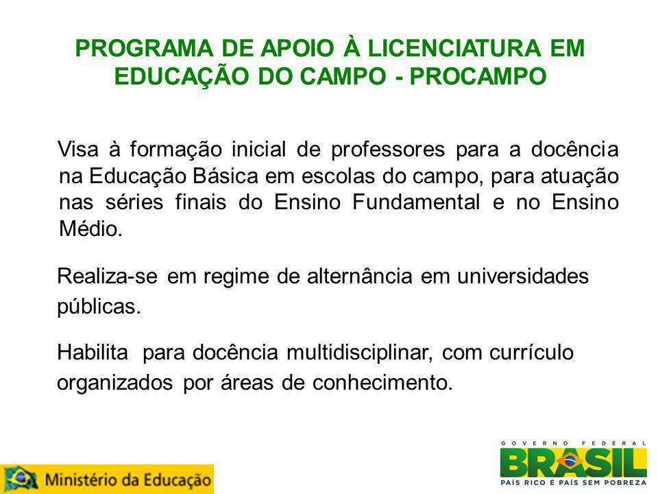 PROGRAMA DE APOIO À LICENCIATURA EM EDUCAÇÃO DO CAMPO - PROCAMPO Visa à formação inicial de professores para a docência na Educação Básica em escolas