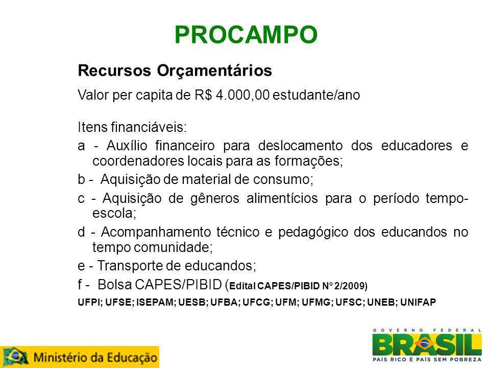 PROCAMPO Recursos Orçamentários Valor per capita de R$ 4.000,00 estudante/ano Itens financiáveis: a - Auxílio financeiro para deslocamento dos educado