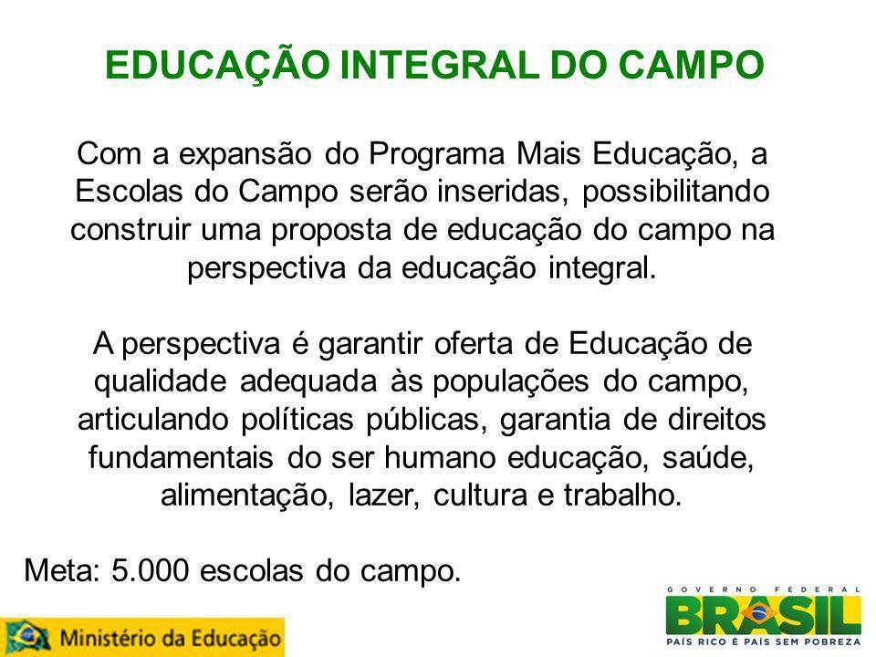 EDUCAÇÃO INTEGRAL DO CAMPO Transferência de recursos pelo Governo Federal Com a expansão do Programa Mais Educação, a Escolas do Campo serão inseridas