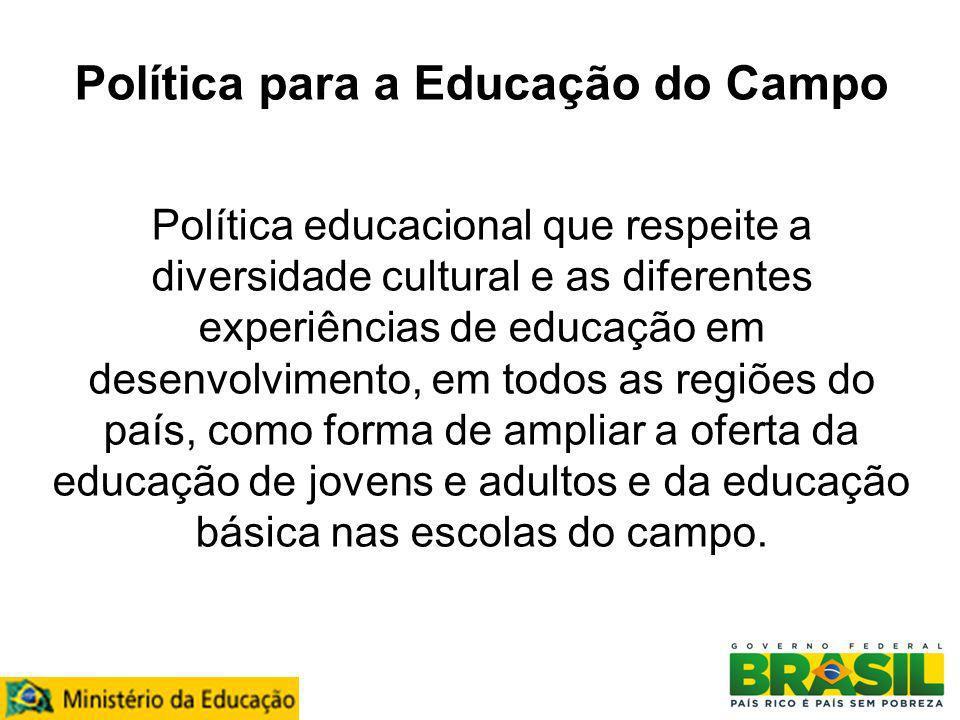 Política para a Educação do Campo Política educacional que respeite a diversidade cultural e as diferentes experiências de educação em desenvolvimento