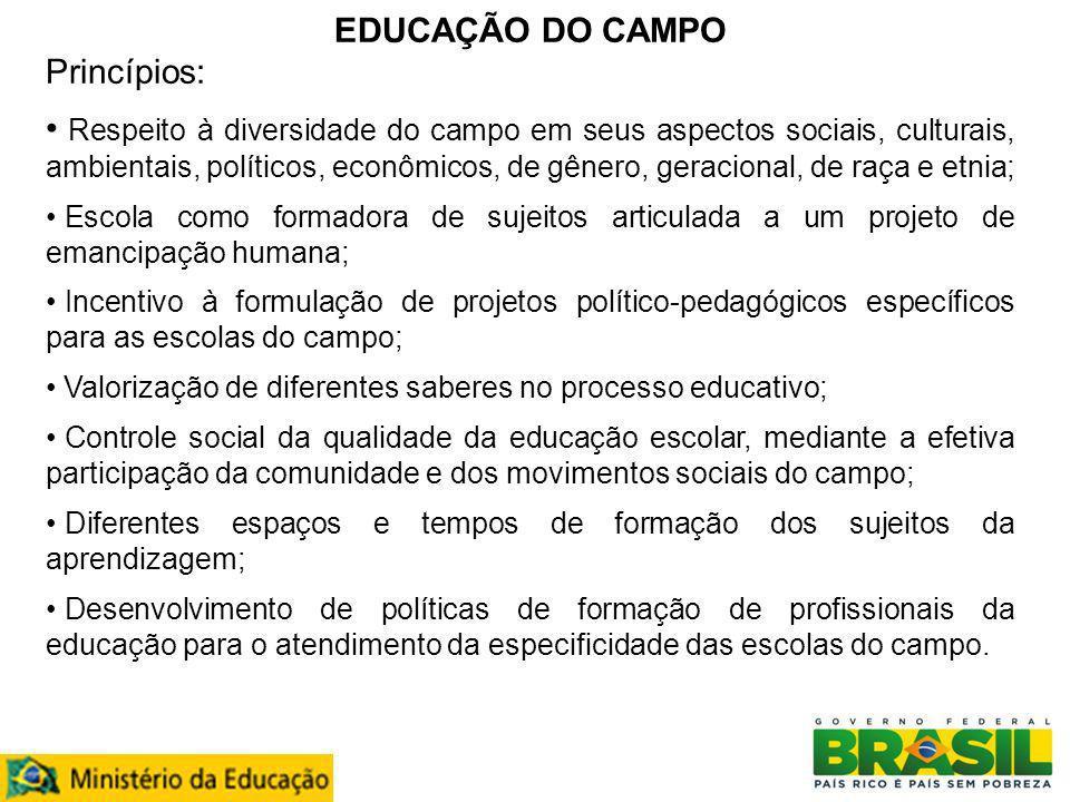 EDUCAÇÃO DO CAMPO Princípios: Respeito à diversidade do campo em seus aspectos sociais, culturais, ambientais, políticos, econômicos, de gênero, gerac