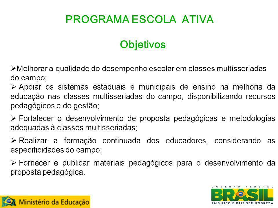 PROGRAMA ESCOLA ATIVA Atendimento 2011 - 3.326 municípios - 42.397 escolas multisseriadas - 70.589 turmas - 1.270.887 estudantes - 67.351 docentes