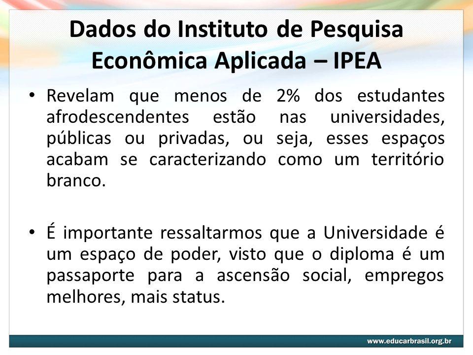 Dados do Instituto de Pesquisa Econômica Aplicada – IPEA Revelam que menos de 2% dos estudantes afrodescendentes estão nas universidades, públicas ou