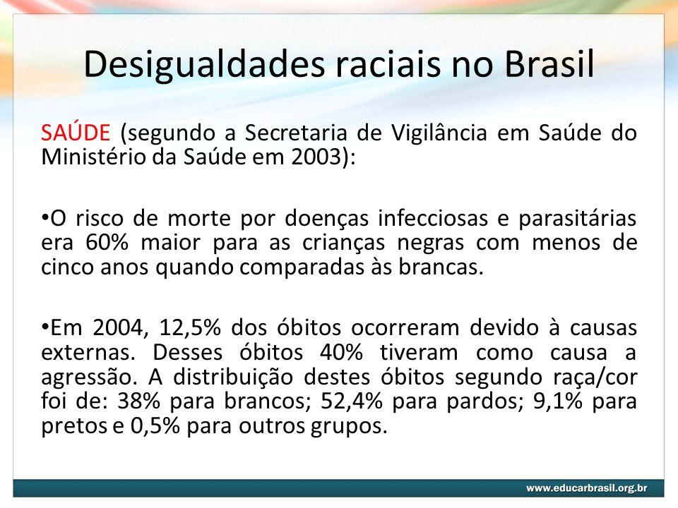 Desigualdades raciais no Brasil SAÚDE (segundo a Secretaria de Vigilância em Saúde do Ministério da Saúde em 2003): O risco de morte por doenças infec