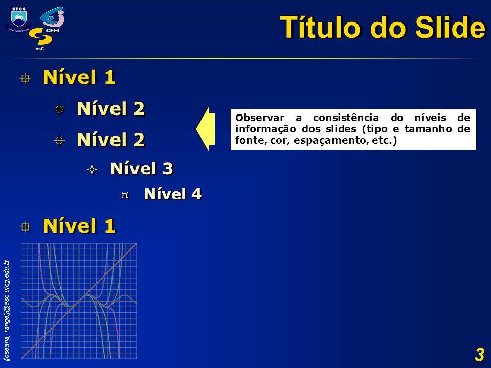 {joseana, rangel}@asc.ufcg.edu.br CEEI asC 3 Nível 1 Nível 1 Nível 2 Nível 2 Nível 3 Nível 3 Nível 4 Nível 4 Nível 1 Nível 1 Nível 2 Nível 2 Nível 3 N