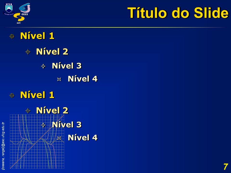 {joseana, rangel}@asc.ufcg.edu.br CEEI asC 7 Nível 1 Nível 1 Nível 2 Nível 2 Nível 3 Nível 3 Nível 4 Nível 4 Nível 1 Nível 1 Nível 2 Nível 2 Nível 3 N