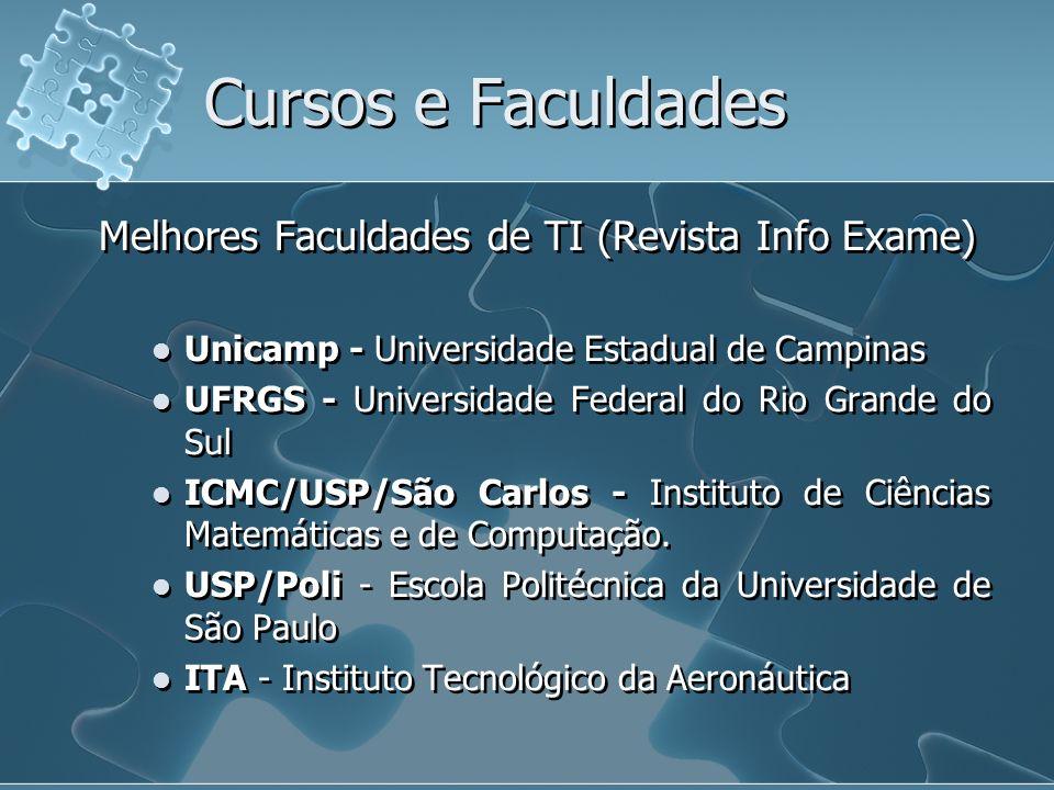 Melhores Faculdades de TI (Revista Info Exame) Unicamp - Universidade Estadual de Campinas UFRGS - Universidade Federal do Rio Grande do Sul ICMC/USP/