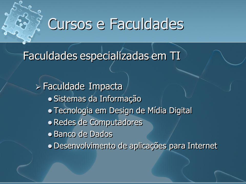 Cursos e Faculdades Faculdades especializadas em TI Faculdade Impacta Sistemas da Informação Tecnologia em Design de Mídia Digital Redes de Computador