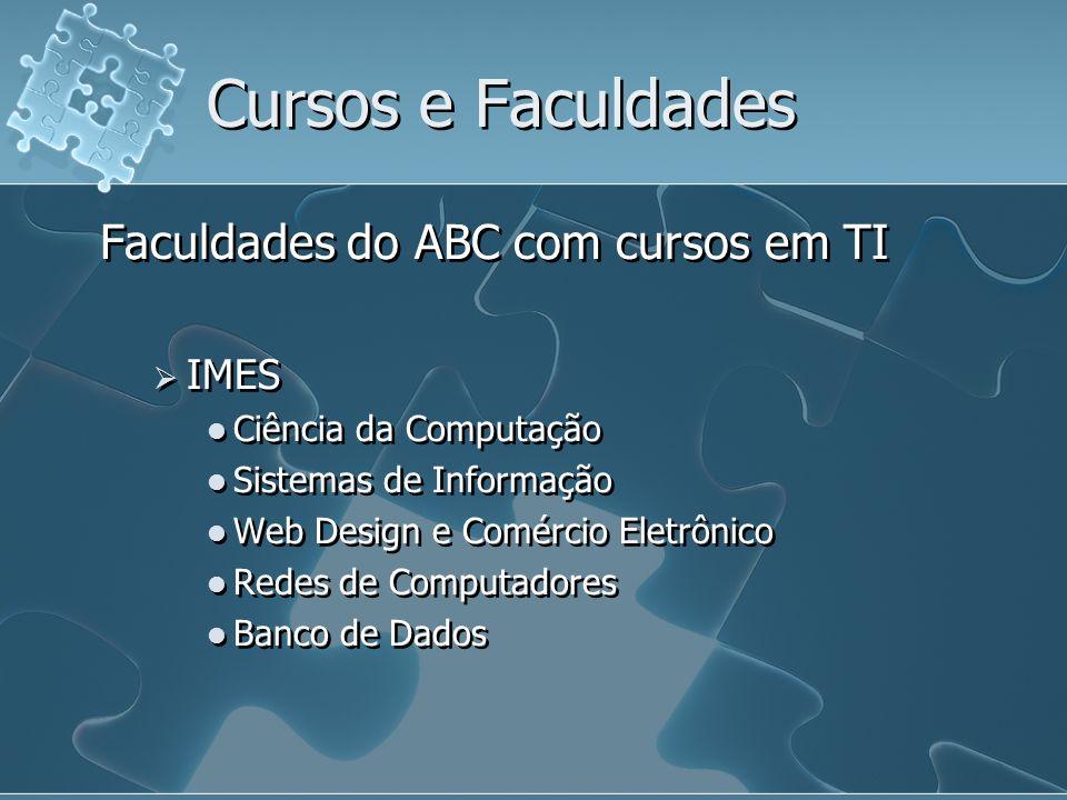 Cursos e Faculdades Faculdades do ABC com cursos em TI IMES Ciência da Computação Sistemas de Informação Web Design e Comércio Eletrônico Redes de Com