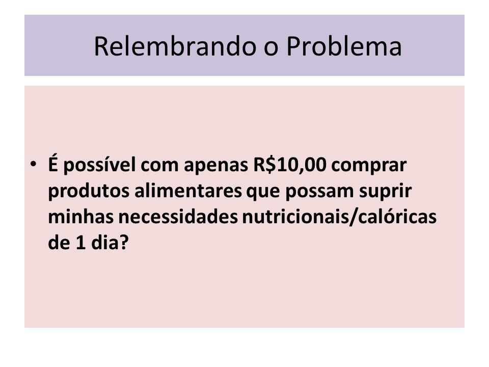 Relembrando o Problema É possível com apenas R$10,00 comprar produtos alimentares que possam suprir minhas necessidades nutricionais/calóricas de 1 dia?