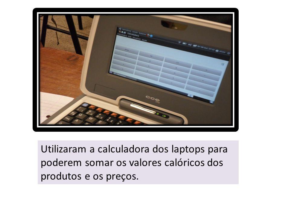 Utilizaram a calculadora dos laptops para poderem somar os valores calóricos dos produtos e os preços.