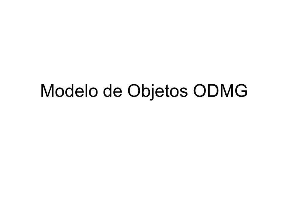 ODMG ODL Object Definition Language Equivale a CREATE TABLE no SQL Definir classes persistentes –Objetos que permanecem armazenados –Definição é parte da linguagem OO host do BD