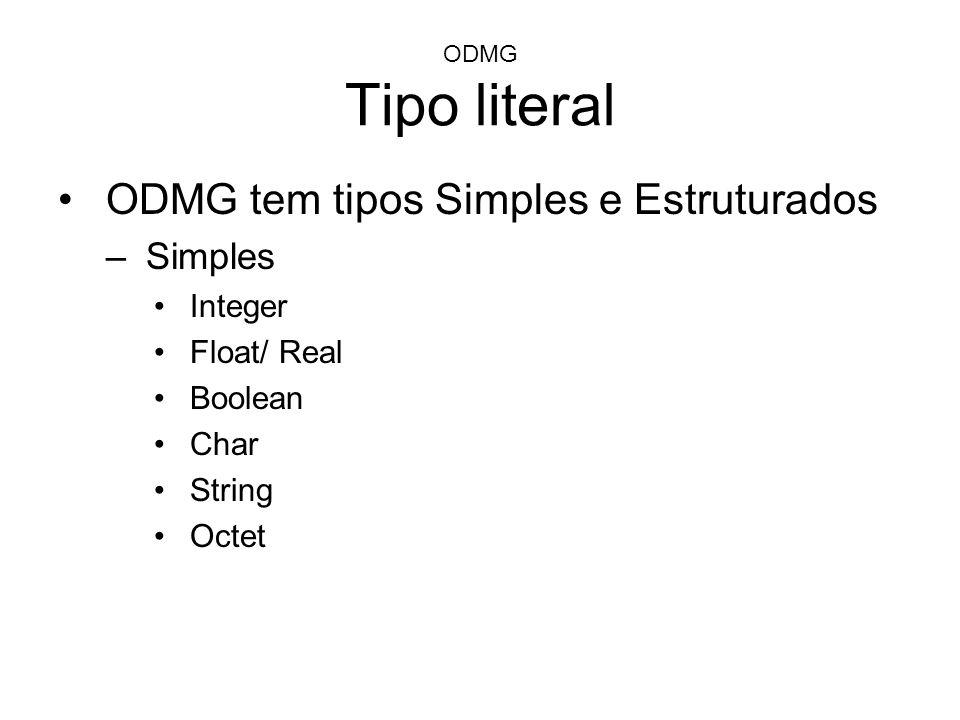 ODMG Tipo literal ODMG tem tipos Simples e Estruturados –Simples Integer Float/ Real Boolean Char String Octet