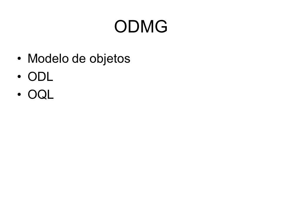 ODMG Propriedades de objeto Noção de tipo –Supertipo –Extensão –Chave Propriedade de instância –Attribute tem nome e tipo –Relashionship tem caminho e multiplicidade Não tem nome, mas o caminho sim OID do objeto associado