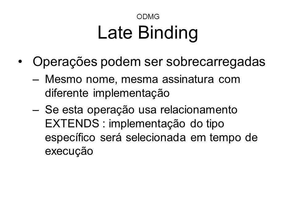 ODMG Late Binding Operações podem ser sobrecarregadas –Mesmo nome, mesma assinatura com diferente implementação –Se esta operação usa relacionamento E