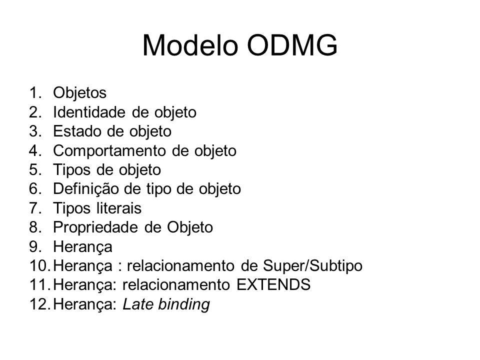 ODMG Propriedades de objeto Operação de instância –Nome –Valor de retorno –Assinatura ( composição de tipos de parâmetros, tipo do retorno e exceções) –Semântica padrão definida pela implementação, senão, por fórmula