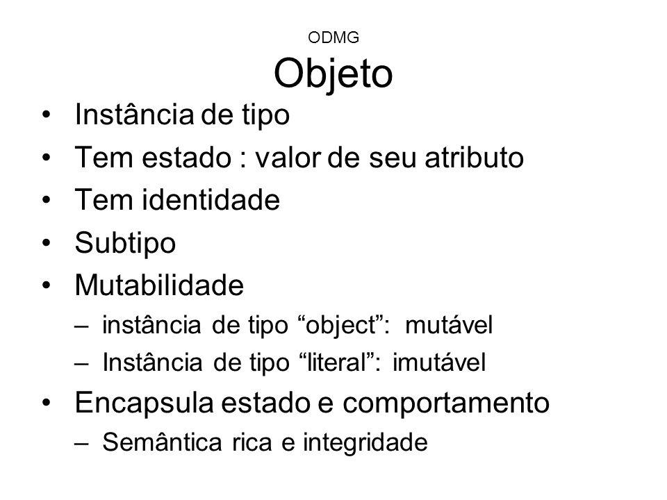 ODMG Objeto Instância de tipo Tem estado : valor de seu atributo Tem identidade Subtipo Mutabilidade –instância de tipo object: mutável –Instância de