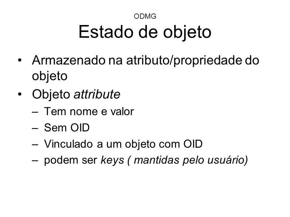 ODMG Estado de objeto Armazenado na atributo/propriedade do objeto Objeto attribute –Tem nome e valor –Sem OID –Vinculado a um objeto com OID –podem s