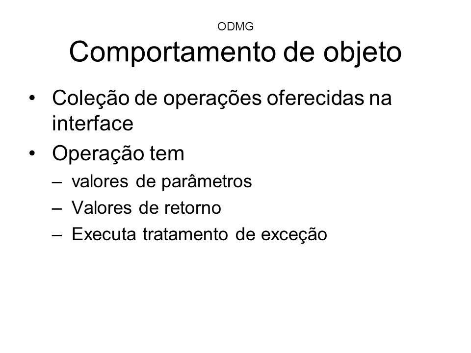 ODMG Comportamento de objeto Coleção de operações oferecidas na interface Operação tem –valores de parâmetros –Valores de retorno –Executa tratamento