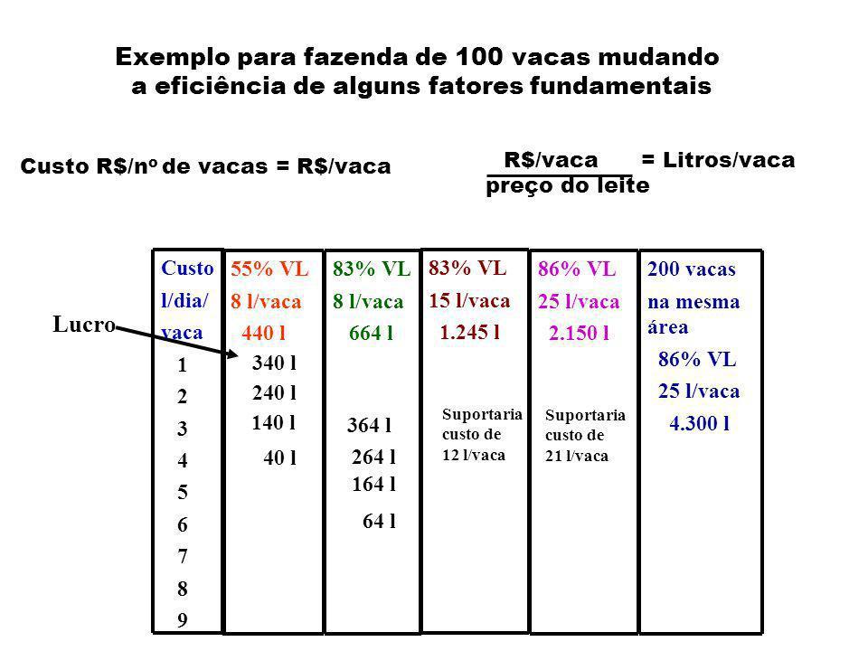 Custo R$/n o de vacas = R$/vaca R$/vaca = Litros/vaca preço do leite Exemplo para fazenda de 100 vacas mudando a eficiência de alguns fatores fundamentais Custo l/dia/ vaca 1 2 3 4 5 6 7 8 9 83% VL 8 l/vaca 664 l 83% VL 15 l/vaca 1.245 l 86% VL 25 l/vaca 2.150 l 200 vacas na mesma área 86% VL 25 l/vaca 4.300 l Lucro 55% VL 8 l/vaca 440 l 240 l 140 l 40 l 340 l 264 l 164 l 64 l 364 l Suportaria custo de 12 l/vaca Suportaria custo de 21 l/vaca