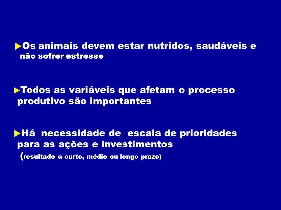 Os animais devem estar nutridos, saudáveis e não sofrer estresse Todos as variáveis que afetam o processo produtivo são importantes Há necessidade de escala de prioridades para as ações e investimentos ( resultado a curto, médio ou longo prazo)