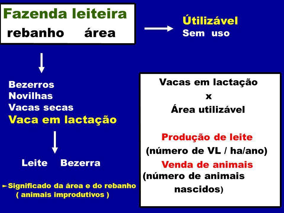 Bezerros Novilhas Vacas secas Vaca em lactação Leite Bezerra Útilizável Sem uso Fazenda leiteira rebanho área Vacas em lactação x Área utilizável Produção de leite (número de VL / ha/ano) Venda de animais (número de animais nascidos ) Significado da área e do rebanho ( animais improdutivos )