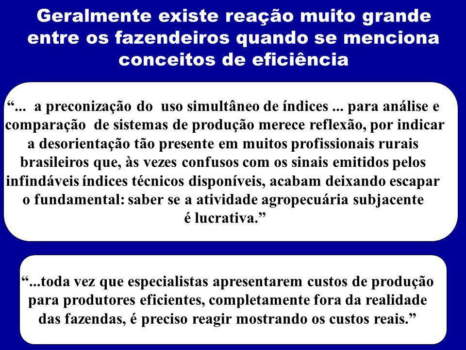 ...toda vez que especialistas apresentarem custos de produção para produtores eficientes, completamente fora da realidade das fazendas, é preciso reagir mostrando os custos reais.