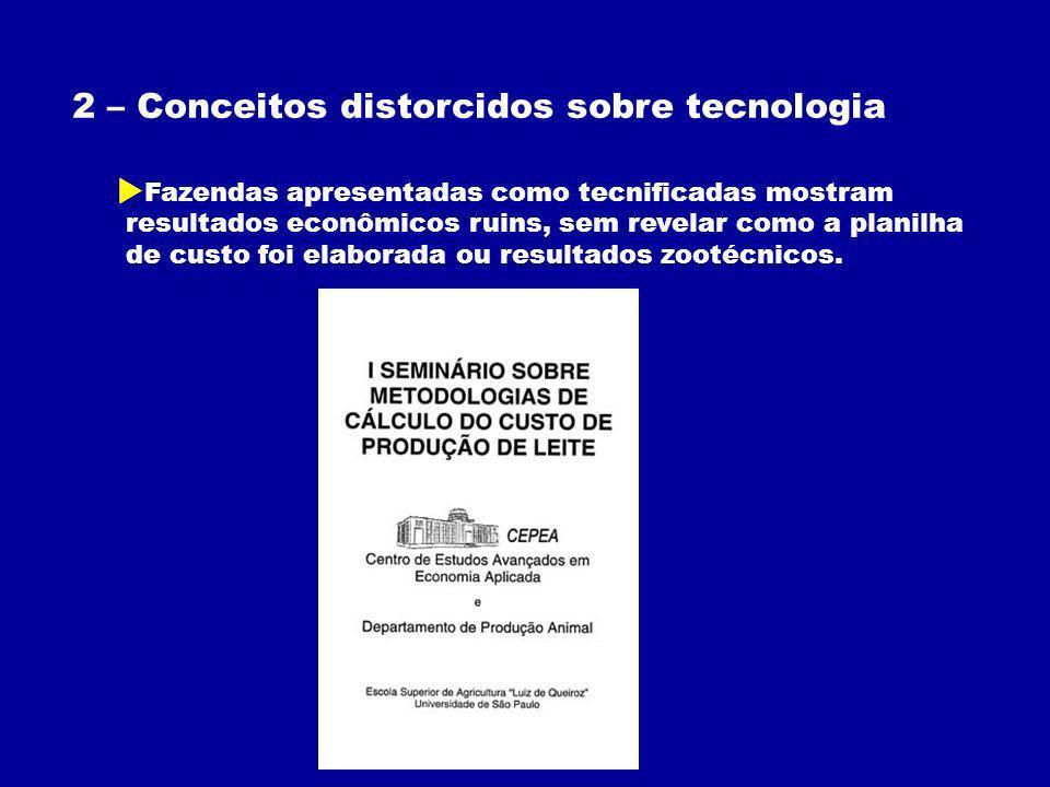 2 – Conceitos distorcidos sobre tecnologia Fazendas apresentadas como tecnificadas mostram resultados econômicos ruins, sem revelar como a planilha de custo foi elaborada ou resultados zootécnicos.