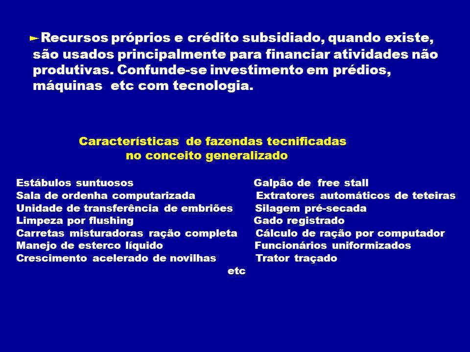 Recursos próprios e crédito subsidiado, quando existe, são usados principalmente para financiar atividades não produtivas.