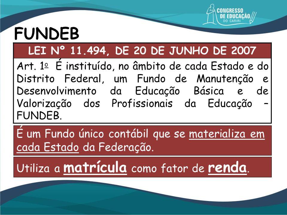 FUNDEB É um Fundo único contábil que se materializa em cada Estado da Federação. LEI Nº 11.494, DE 20 DE JUNHO DE 2007 Art. 1 o É instituído, no âmbit