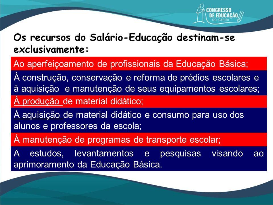 Os recursos do Salário-Educação destinam-se exclusivamente: Ao aperfeiçoamento de profissionais da Educação Básica; A estudos, levantamentos e pesquis