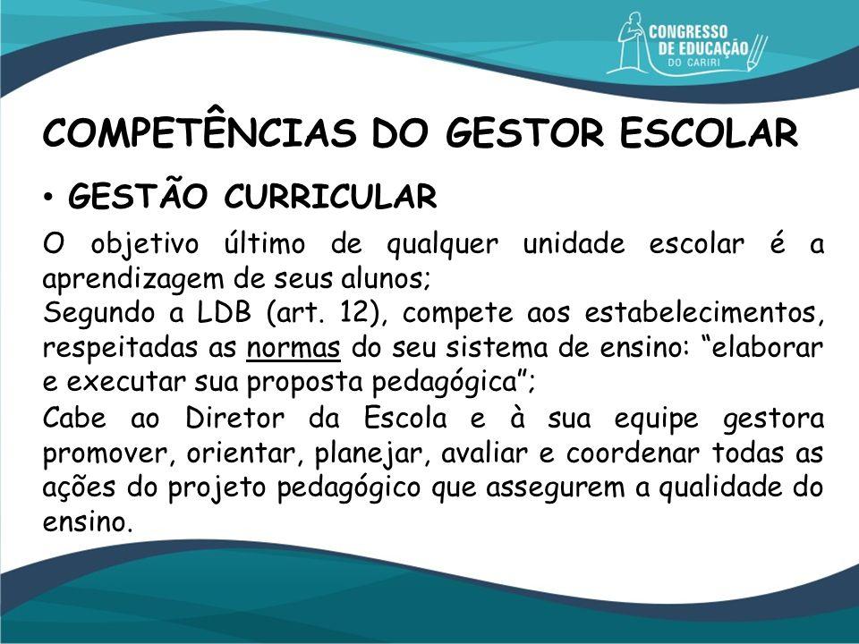 GESTÃO CURRICULAR COMPETÊNCIAS DO GESTOR ESCOLAR O objetivo último de qualquer unidade escolar é a aprendizagem de seus alunos; Segundo a LDB (art. 12