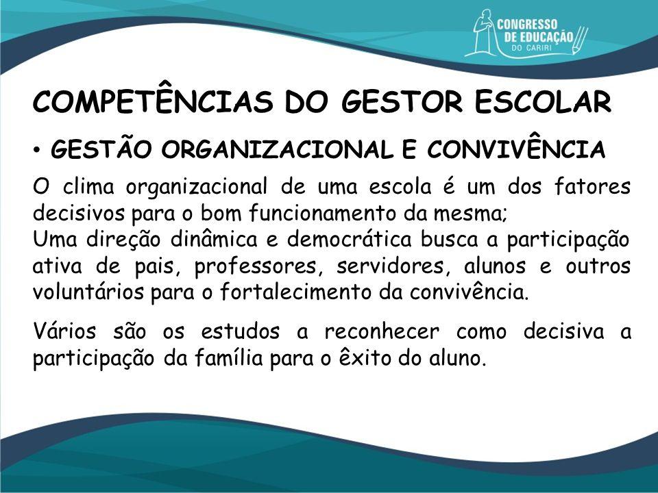 GESTÃO ORGANIZACIONAL E CONVIVÊNCIA O clima organizacional de uma escola é um dos fatores decisivos para o bom funcionamento da mesma; Uma direção din
