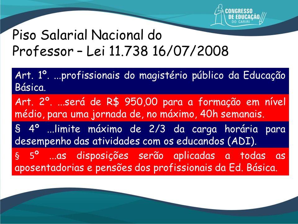 Piso Salarial Nacional do Professor – Lei 11.738 16/07/2008 Art. 1º....profissionais do magistério público da Educação Básica. Art. 2º....será de R$ 9