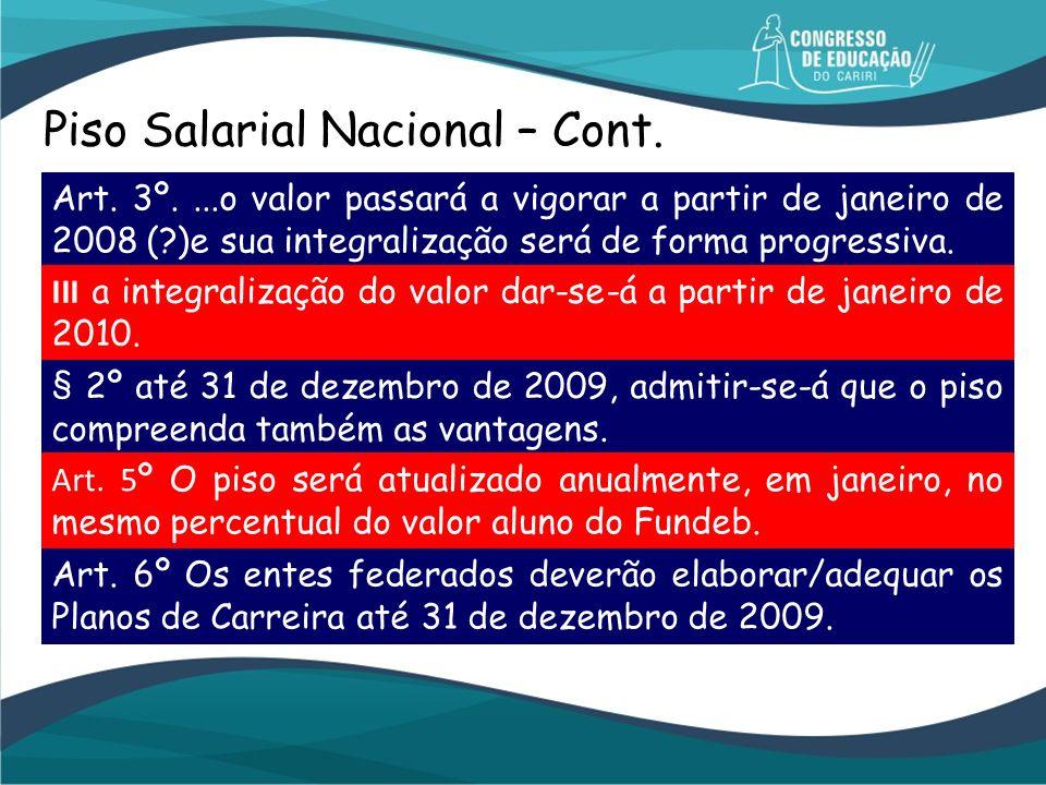 Piso Salarial Nacional – Cont. Art. 3º....o valor passará a vigorar a partir de janeiro de 2008 (?)e sua integralização será de forma progressiva. III