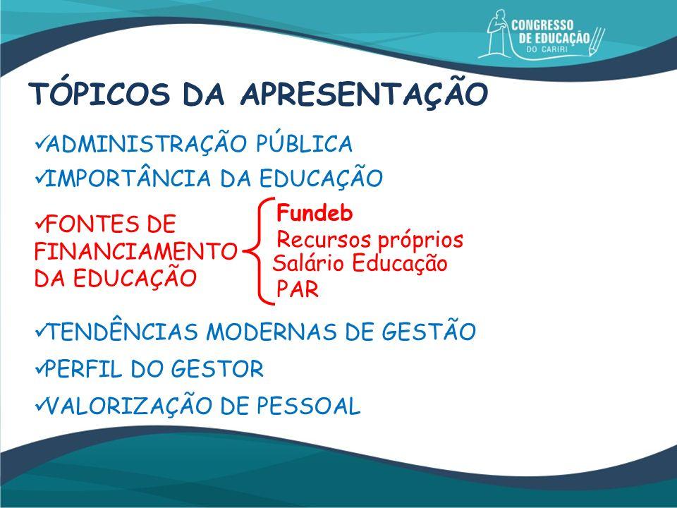 ADMINISTRAÇÃO PÚBLICA IMPORTÂNCIA DA EDUCAÇÃO FONTES DE FINANCIAMENTO DA EDUCAÇÃO Fundeb Recursos próprios Salário Educação PAR TENDÊNCIAS MODERNAS DE