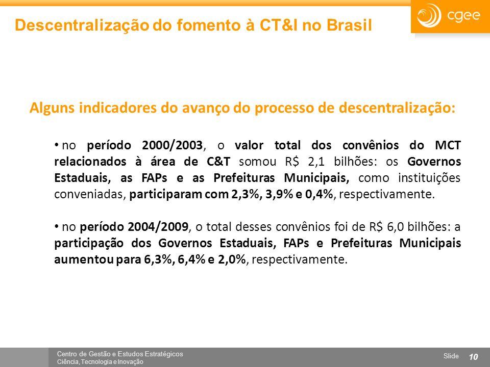 Centro de Gestão e Estudos Estratégicos Ciência, Tecnologia e Inovação Slide 10 Descentralização do fomento à CT&I no Brasil Alguns indicadores do ava