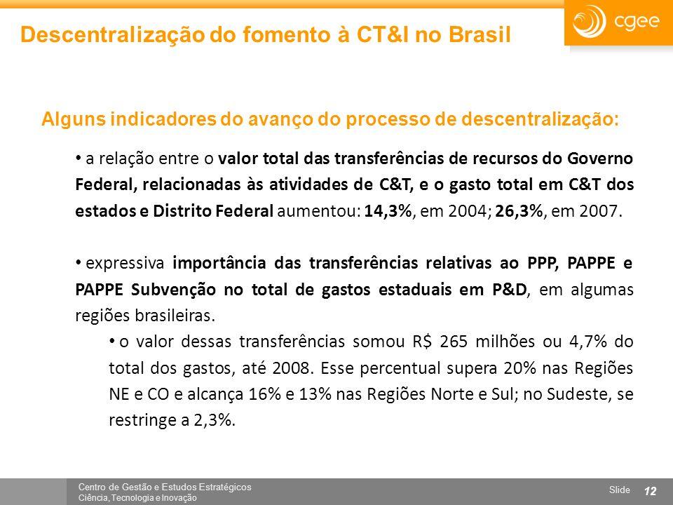 Centro de Gestão e Estudos Estratégicos Ciência, Tecnologia e Inovação Slide 12 Descentralização do fomento à CT&I no Brasil a relação entre o valor t