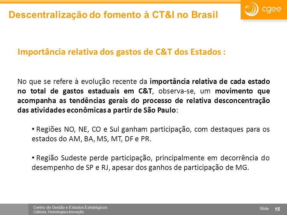 Centro de Gestão e Estudos Estratégicos Ciência, Tecnologia e Inovação Slide 15 Descentralização do fomento à CT&I no Brasil No que se refere à evoluç