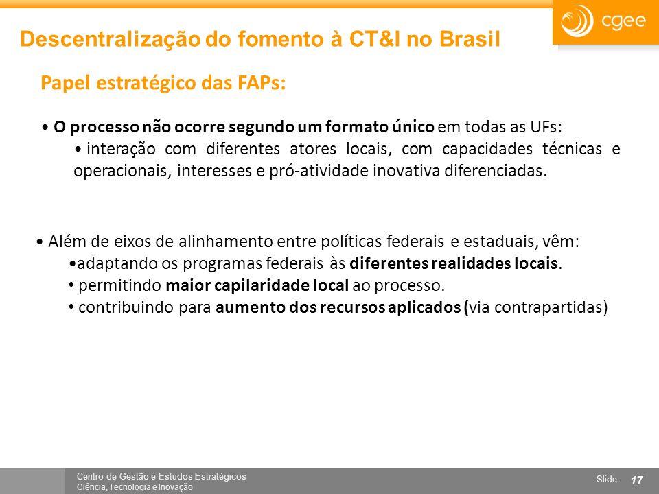 Centro de Gestão e Estudos Estratégicos Ciência, Tecnologia e Inovação Slide 17 Descentralização do fomento à CT&I no Brasil O processo não ocorre seg