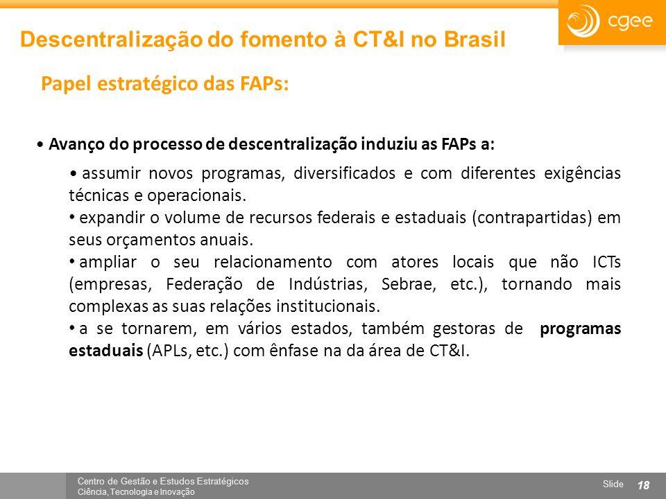 Centro de Gestão e Estudos Estratégicos Ciência, Tecnologia e Inovação Slide 18 Descentralização do fomento à CT&I no Brasil Papel estratégico das FAP