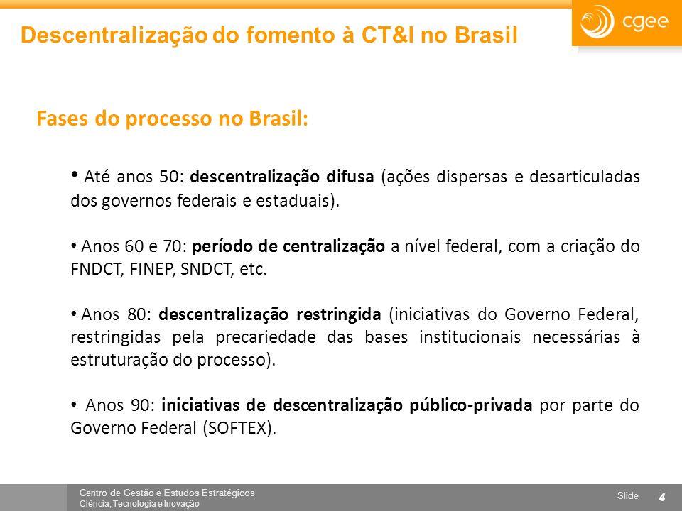 Centro de Gestão e Estudos Estratégicos Ciência, Tecnologia e Inovação Slide 4 Descentralização do fomento à CT&I no Brasil Fases do processo no Brasi